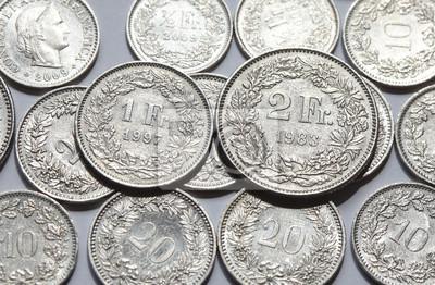 Schweizer Franken Und Rappen Münzen Fototapete Fototapeten Franken