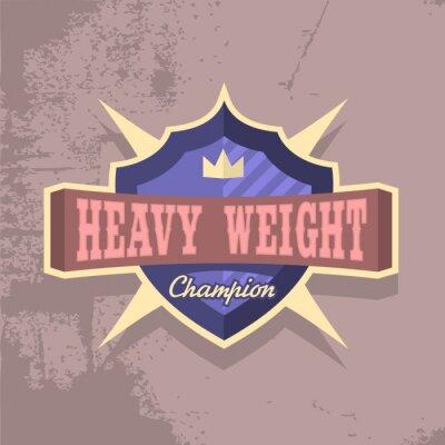 Schwergewichts-Champion. Emblem-Entwurf. T-Stück-Druck-Konzept.