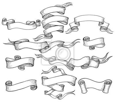 Fototapete Scrollskizze. Gezeichnete Fahne der Weinlese Hand und skizzierte Strudelband-Vektorillustration