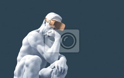 Fototapete Sculpture Thinker With Golden VR Glasses On Blue Background