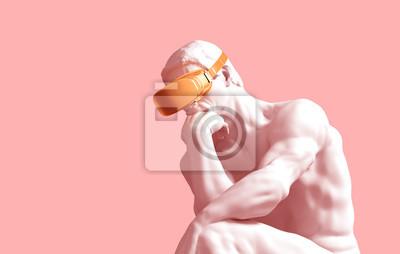 Fototapete Sculpture Thinker With Golden VR Glasses On Pink Background