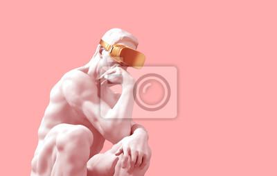 Fototapete Sculpture Thinker With Golden VR Glasses Over Pink Background