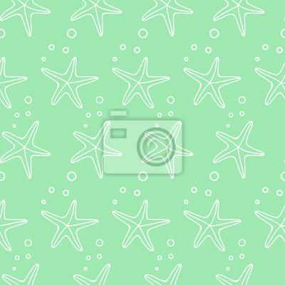 Fototapete Sea Leben Sommer Hintergrund. Vector nahtlose Muster mit Seesterne und Blasen. Cute Meer Leben Hintergrund. Baby-Dusche Vektor marine Leben Illustration.