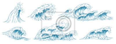 Fototapete Sea waves sketch. Storm wave, vintage tide and ocean beach storms hand drawn vector illustration set