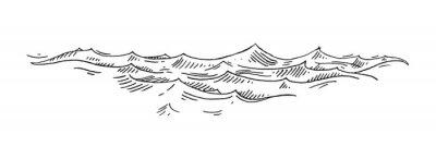 Fototapete Sea waves. Vintage vector engrave black illustration. Isolated on white