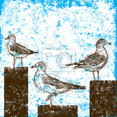 Seagulls on pilings