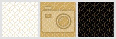 Fototapete Seamless abstract modern geometric circle line pattern for elegant golden christmas background