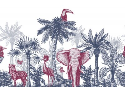 Fototapete Seamless border with graphical tropical tree such as palm, banana and jungle animals. Vector.