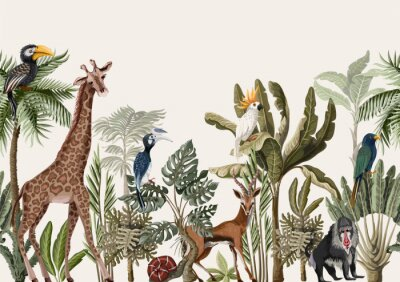 Fototapete Seamless border with tropical tree such as palm, banana and jungle animals. Vector.