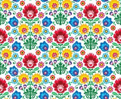 Fototapete Seamless floral pattern polish - ethnischen Hintergrund