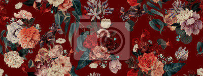 Fototapete Seamless floral pattern with flowers, watercolor