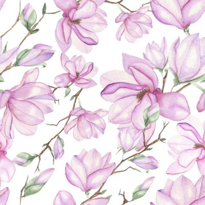 Fototapete Seamless floral pattern with magnolias painted with watercolors on white background