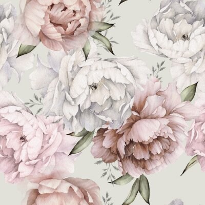 Fototapete Seamless floral pattern with peonies on light background, watercolor. Template design for textiles, interior, clothes, wallpaper. Botanical art