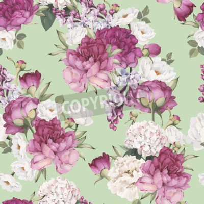 Fototapete Seamless floral pattern with peonies. Vector