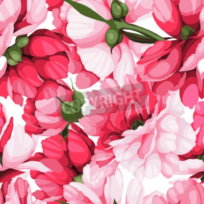 Fototapete Seamless floral pattern with roses, watercolor. Vector illustration.