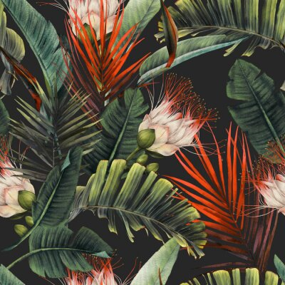Fototapete Seamless floral pattern with tropical flowers and leaves on dark background. Template design for textiles, interior, clothes, wallpaper. Watercolor illustration