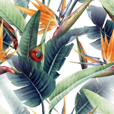 Fototapete Seamless floral pattern with tropical leaves and strelitzia on light background. Template design for textiles, interior, clothes, wallpaper. Watercolor illustration