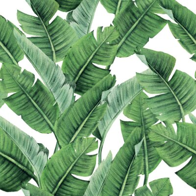 Fototapete Seamless floral pattern with tropical leaves on light background. Template design for textiles, interior, clothes, wallpaper. Watercolor illustration