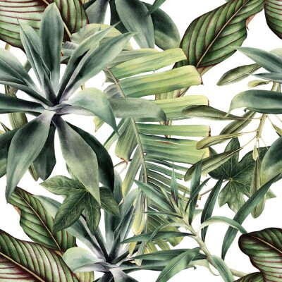 Fototapete Seamless floral pattern with tropical piants, watercolor.