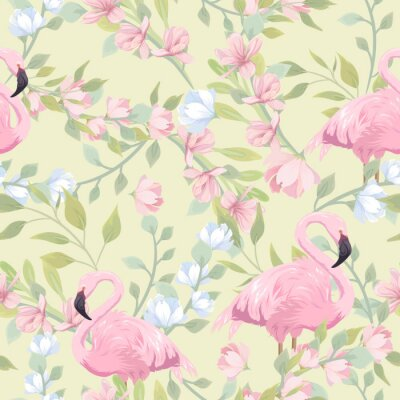 Fototapete Seamless gentle pattern with pink flowers and flamingo