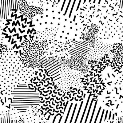 Fototapete Seamless geometric pattern in memphis style