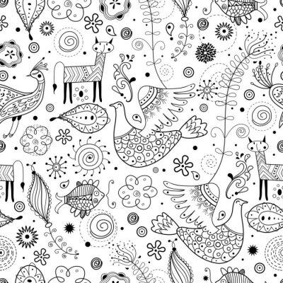 Fototapete Seamless graphischen Muster Fabeltiere