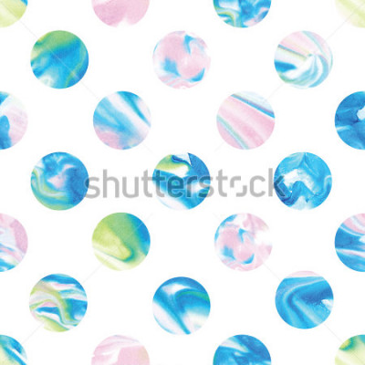 Fototapete Seamless marble polka dot pattern. Abstract watercolor shapes in rainbow.