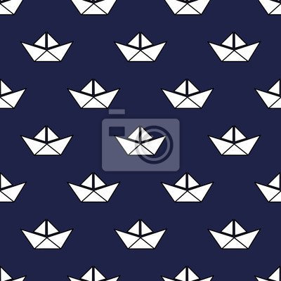 Fototapete Seamless nautical pattern with white paper boats. Baby style vector illustration. Cute origami ship background.
