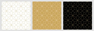Fototapete Seamless pattern abstract star christmas background with elegant golden vector lines