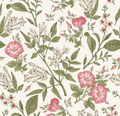 Fototapete Seamless pattern. Beautiful fabric blooming realistic isolated flowers. Vintage background. Set Jasmine Petunia Croton wildflowers. Wallpaper baroque. Drawing engraving. Vector victorian illustration