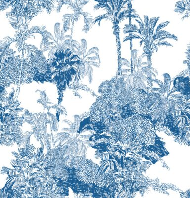 Fototapete Seamless Pattern Blue and White Cobalt Tropical Jungles with Palms and Mountains, Blue Rainforest Toile Print, Tropical Engraving Illustration Wallpaper Mural, Classic Hand Drawn Landscape Design