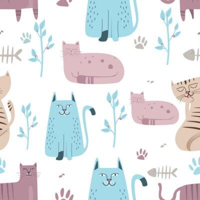 Fototapete Seamless pattern Cute cat with hand drawn cartoon