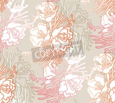 Fototapete Seamless pattern of flowers. Floral illustration. Botanic atrwork.