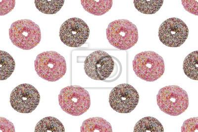 Seamless Pattern Ofpink und Schokolade verglasten Donuts