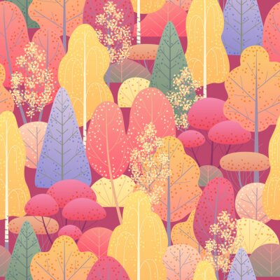 Fototapete Seamless Pattern with Autumn Forest