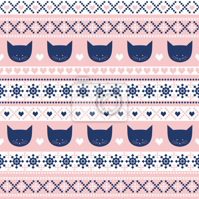 Fototapete Seamless pattern with cats for kids holidays.