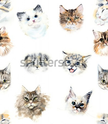 Fototapete Seamless pattern with cats. Watercolor hand drawn illustration