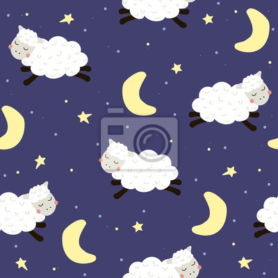 Fototapete Seamless pattern with cute sheep. Vector hand drawn illustration.