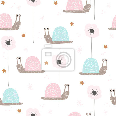 Fototapete Seamless pattern with cute snail and flowers. Vector hand drawn illustration.