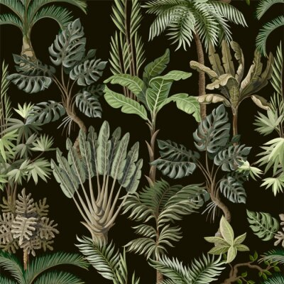Fototapete Seamless pattern with exotic trees such us palm, monstera and banana. Interior vintage wallpaper.