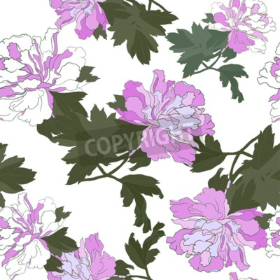 Fototapete Seamless pattern with Flower Peony. Floral Design Vector illustration.