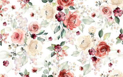 Fototapete Seamless pattern with flowers and leaves. Hand drawn background.  floral pattern for wallpaper or fabric. Flower rose. Botanic Tile.