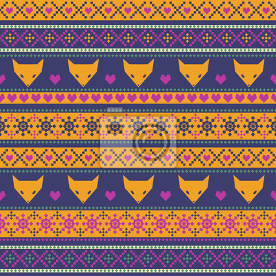 Fototapete Seamless pattern with fox for kids holidays.