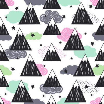 Fototapete Seamless pattern with geometric snowy mountains, clouds and stars. Graphic nature illustration. Abstract mountains background.