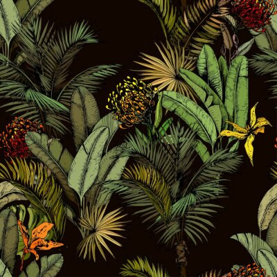 Fototapete Seamless pattern with green tropical leaves and exotic flowers. Hand drawn vector illustration on black background.