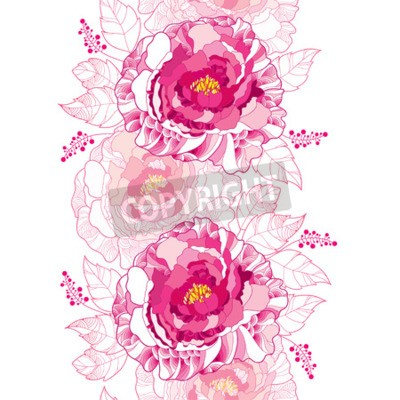 Fototapete Seamless pattern with outline peony flower and ornate leaf in pastel pink colored on the white background. Floral vertical border with contour blossoming peonies for summer design.