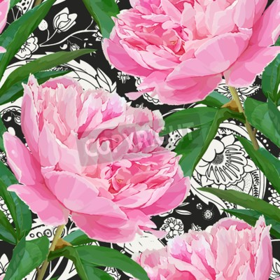 Fototapete Seamless pattern with peonies