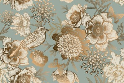 Fototapete Seamless pattern with peonies, bird and butterflies. Vintage.