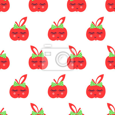 Fototapete Seamless pattern with red apple. Cute vector background.