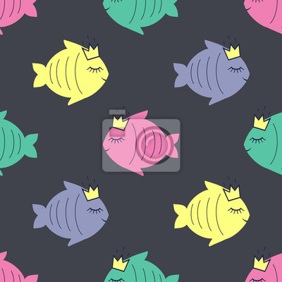 Fototapete Seamless pattern with smiling sleeping fish for kids holidays. Cute baby shower vector background. Child drawing style.